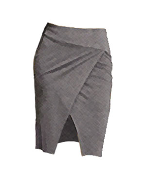 Grey Stretch Skirt (with Crisscross Hemline Detail)